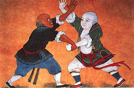 Painting of martial arts at Shaolin Temple depicting a dark-skinned Indian (possibly Bodhidharma)