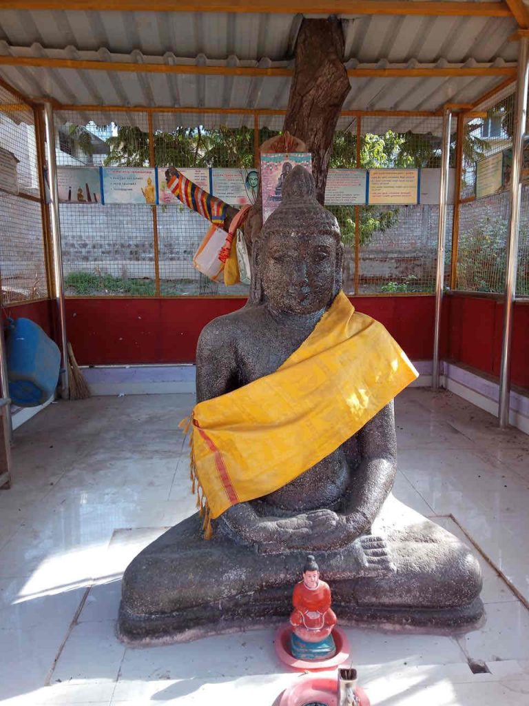 Ancient Buddha statue kept in Govt. C. M. Subbaraya Mudaliyar Higher Secondary School, Kanchi.