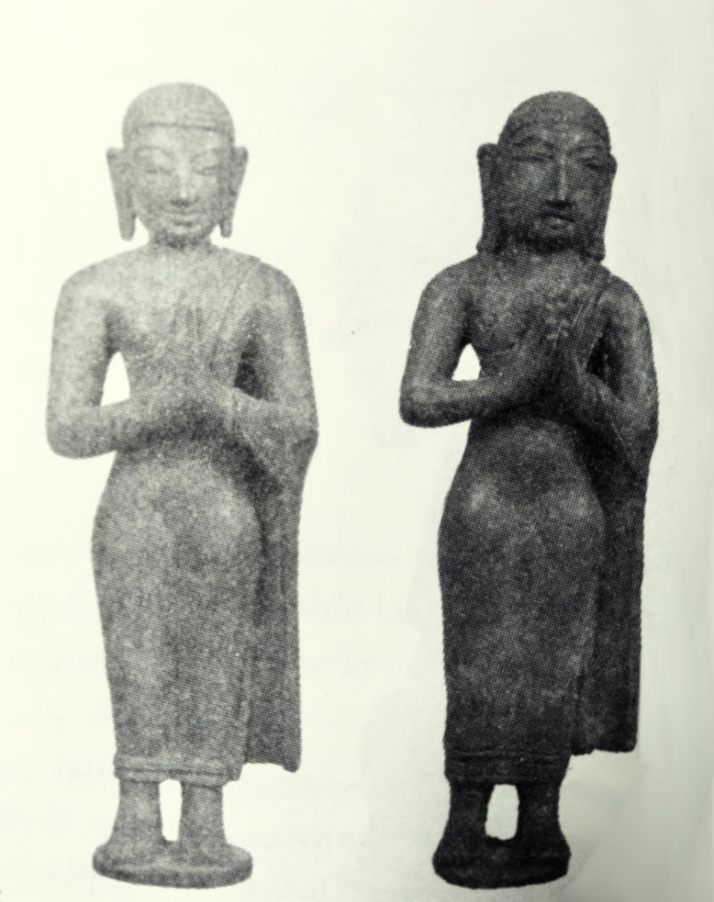 Ancient statues of Bhikshus from Nagapatttinam, Tamil Nadu.