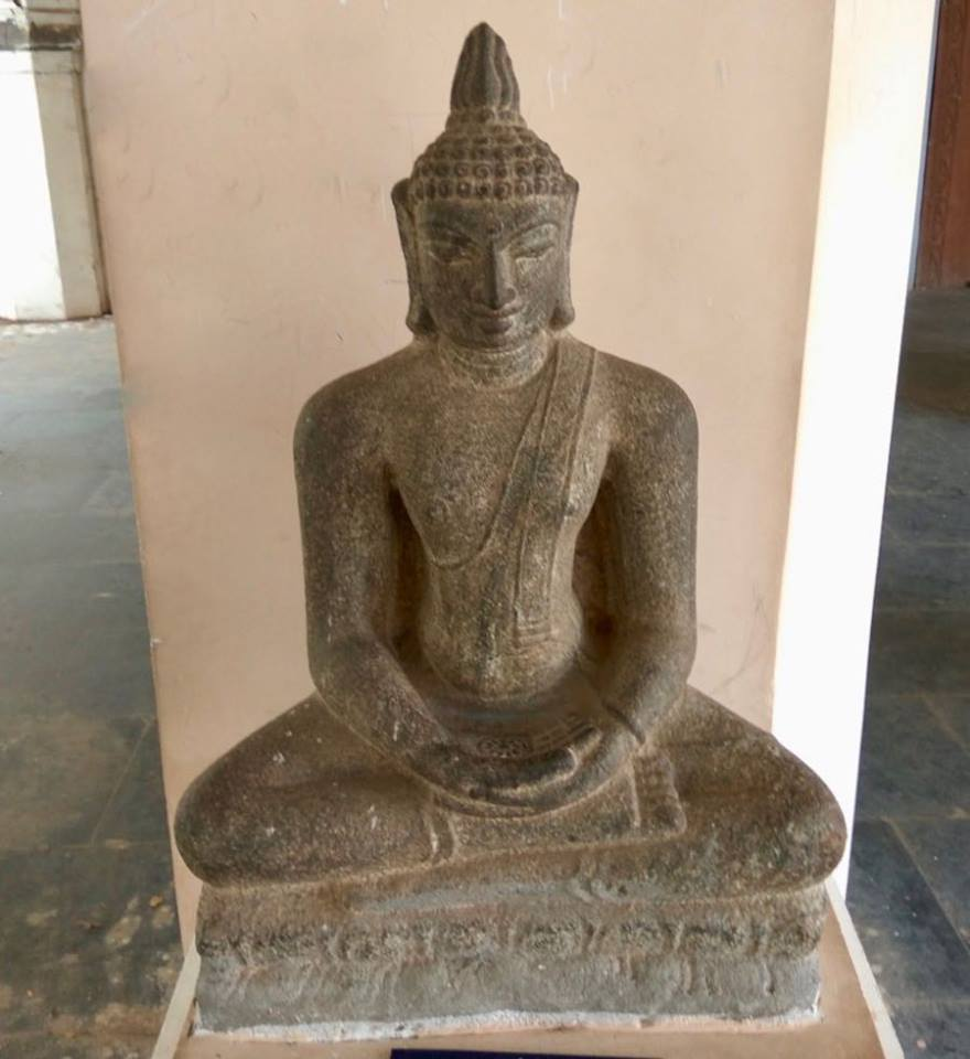 Ancient Buddha statue from Cholanmaligai near Kumbakonam, Thanjavur district, Tamil Nadu. Now in Durbar Hall Museum, Thanjavur.