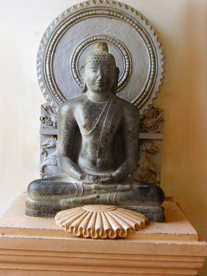 Ancient Buddha statue from Madagaram village, Thanjavur district, Tamil Nadu. Now in Thanjavur Art Gallery.
