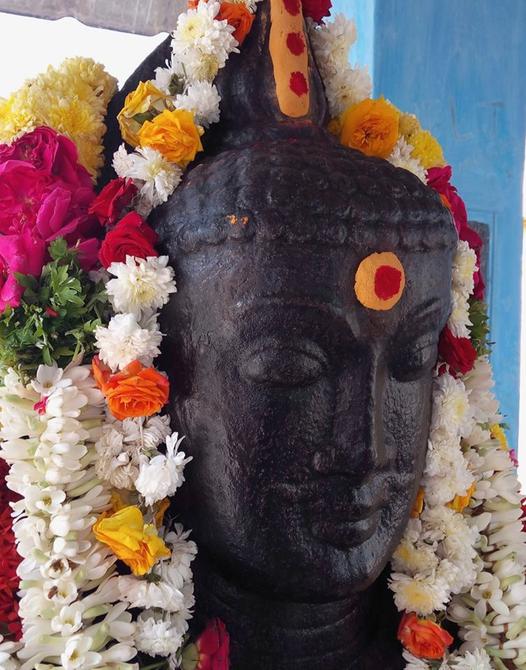 Tamil Nadu Buddha statue thatl looks like Guru Rinpoche - Ancient Buddha statue from Mangalam, Musiri, Tiruchirapalli district, Tamil Nadu. Presently kept in Aravayee Amman Kovil, Mangalam.