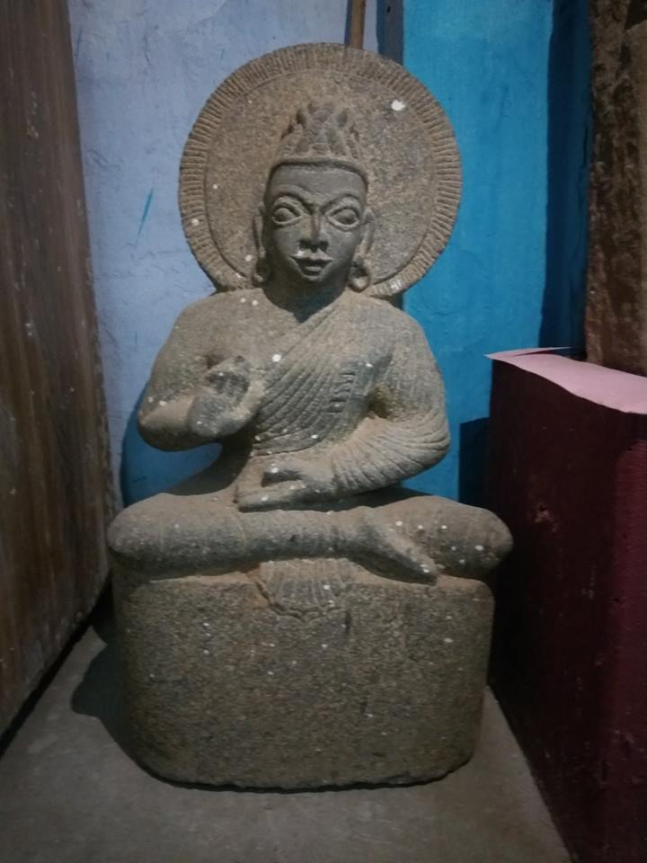 Ancient Buddha statue from Musiri, Tiruchirapalli district, Tamil Nadu. Now in Tiruchirapalli Museum.