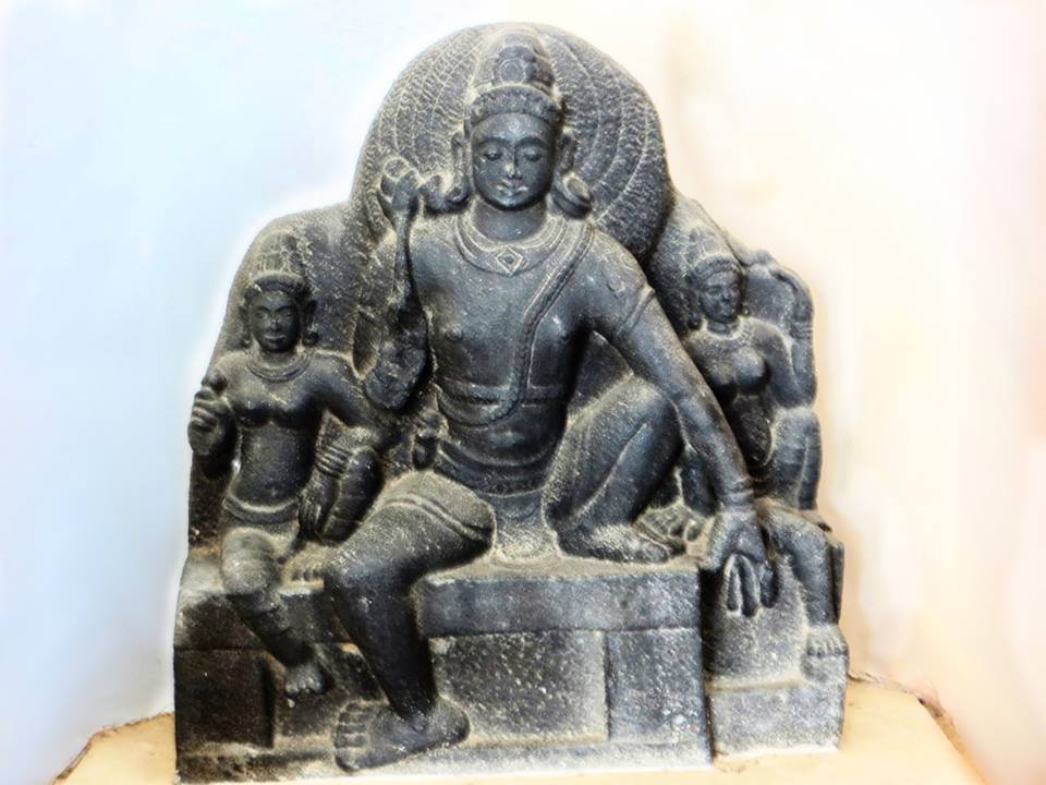 Ancient Bodhisattva statue from Thirukarukavur, Thanjavur district, Tamil Nadu. Now in Thanjavur Art Gallery.