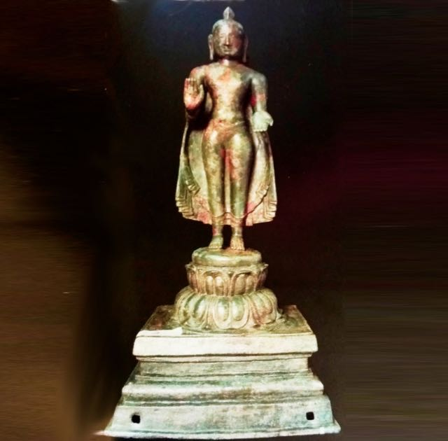 An ancient bronze Buddha statue from Sellur, Thirvarur dist. Tamil Nadu