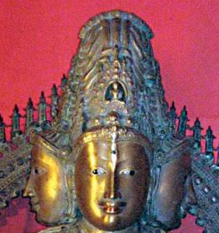 Buddha Akshobhya at the crown of Bodhisattva Manjusri statue in Kadri Manjunatha Temple, Mangalore, Karnataka.