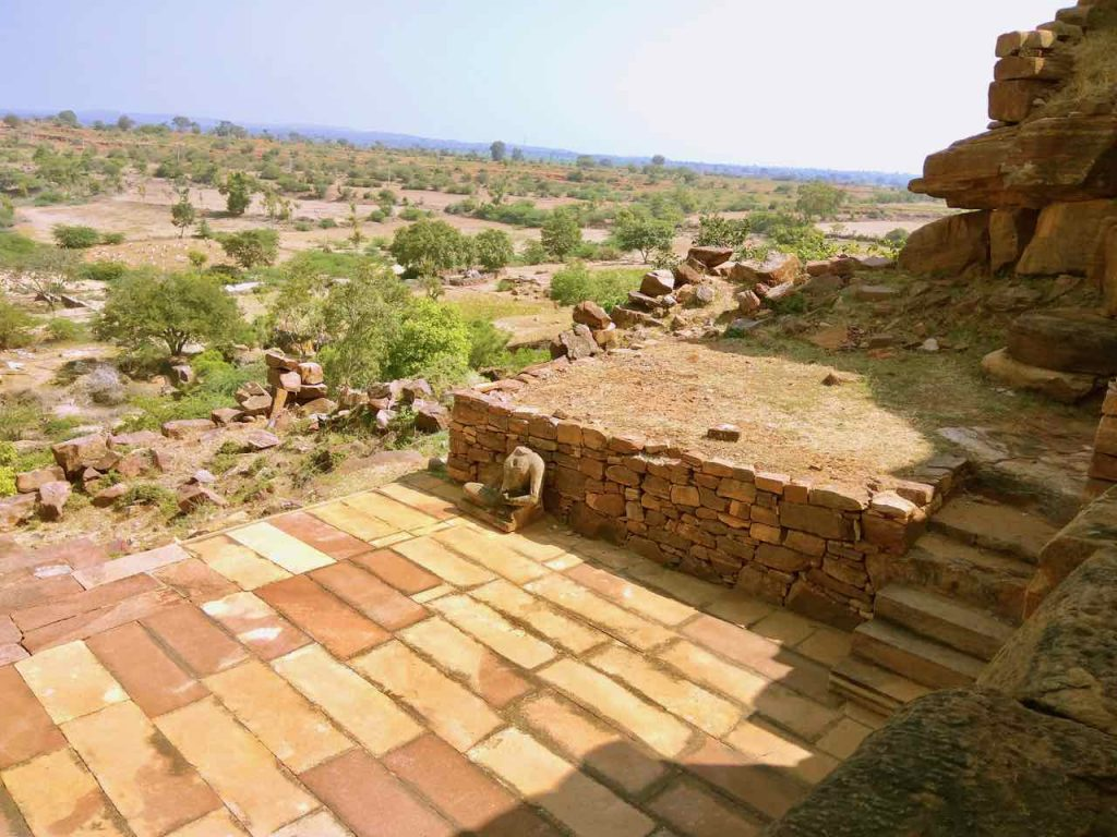 View from the Buddhist Chaitya and Vihara (Buddhist Monastery) at Meguti Hills, Aihole