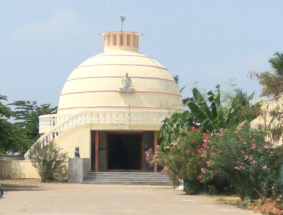 Buddha Temple recently built for enshrining an ancient Buddha statue in Thiyaganur, Salem district, Tamil Nadu.