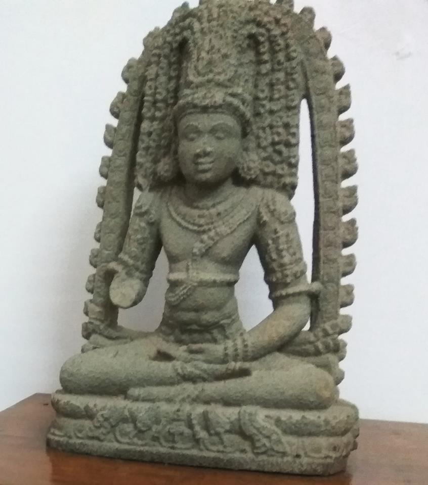 Bodhisattva statue with matted hair from the Kadri Manjunatha Temple, currently kept in the Mangalore Archeological Museum.