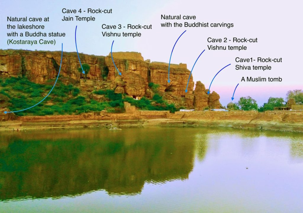 the View of the Badam Caves on the Cliff formed on the sandstone quartzite hills on the southern side of the lake, showing the two natural caves of Buddhism,  the rock-cut caves of Jainism, Shaivism, and Vaishnavism, and a Muslim tomb.
