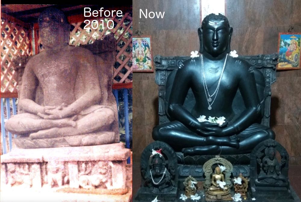 The ancient Buddha statue in Ankola on the left and the newly replaced statue on the right. (Courtesy for the left side image - Ref 1)