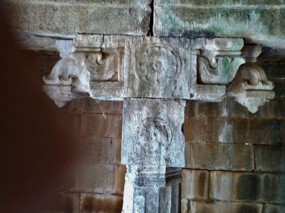 Lotus medallions in a Pillar of the dilapidated Temple near the ancient Buddha statue of Ulagiyanallur, Kallakurichi.